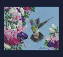 Hummingbird and Fuchsias One Piece - Long Sleeve