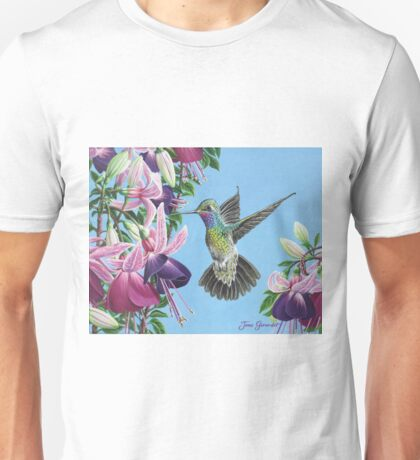 Hummingbird and Fuchsias Unisex T-Shirt