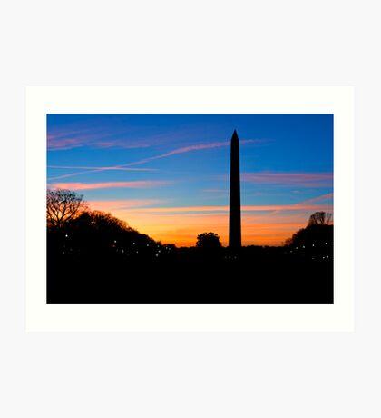 Washington Monument Sunset Silhouette Art Print
