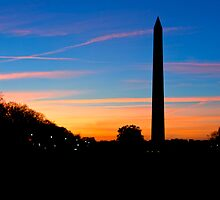 Washington Monument Sunset Silhouette by Ken Howard