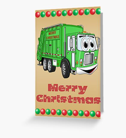 Christmas Card Garbage Truck Cartoon Greeting Card