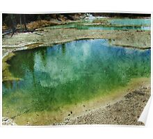 Yellowstone hot spring photography, in oil painting style. Landscape photography of hot spring geyser.,  Poster