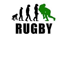 Rugby Tackle Evolution (Green) Photographic Print