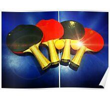 Lens Flare Pingpong Balls Bats Table Tennis Paddles Rackets Poster