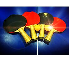 Lens Flare Pingpong Balls Bats Table Tennis Paddles Rackets Photographic Print