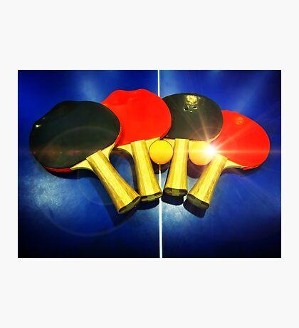 Lens Flare Pingpong Balls Bats Table Tennis Paddles Rackets Photographic Print
