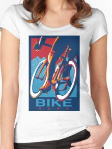 Retro styled motivational cycling poster: Bike Hard Women's Fitted Scoop T-Shirt