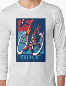 Retro styled motivational cycling poster: Bike Hard Long Sleeve T-Shirt