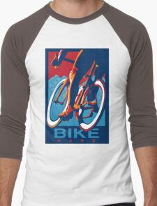 Retro styled motivational cycling poster: Bike Hard Men's Baseball ¾ T-Shirt