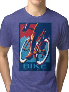 Retro styled motivational cycling poster: Bike Hard Tri-blend T-Shirt