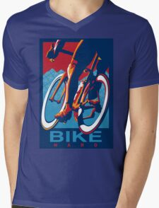 Retro styled motivational cycling poster: Bike Hard Mens V-Neck T-Shirt