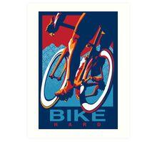 Retro styled motivational cycling poster: Bike Hard Art Print