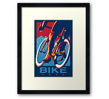 Retro styled motivational cycling poster: Bike Hard Framed Print