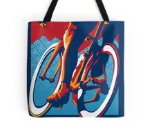 Retro styled motivational cycling poster: Bike Hard Tote Bag