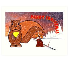 A Squirrel and Mouse Merry Christmas card Art Print