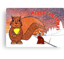 A Squirrel and Mouse Merry Christmas card Metal Print