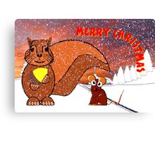 A Squirrel and Mouse Merry Christmas card Canvas Print