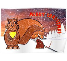 A Squirrel and Mouse Merry Christmas card Poster