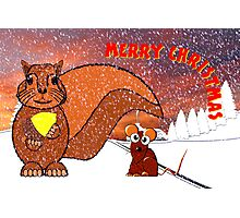 A Squirrel and Mouse Merry Christmas card Photographic Print