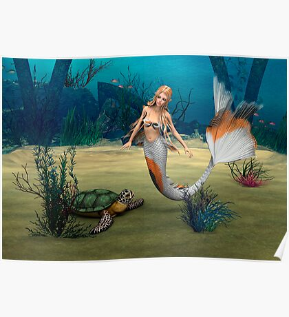 Mermaid und Turtle Poster