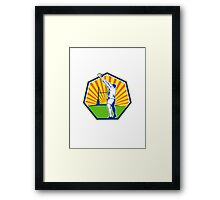 Rugby Player Throwing Lineout Ball Retro Framed Print