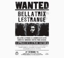 Bellatrix Lestrange WANTED T shirt by Electric Stars