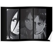 Levi, Eren, Mikasa Poster