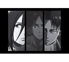 Levi, Eren, Mikasa Photographic Print