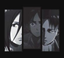 Levi, Eren, Mikasa One Piece - Short Sleeve