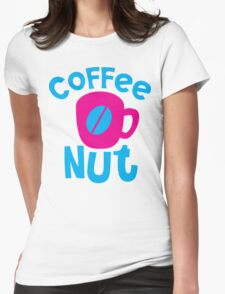 Coffee Nut with cute mug and coffee bean Womens Fitted T-Shirt