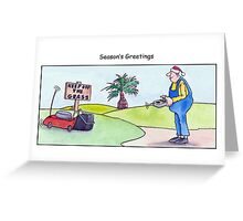 Gardener christmas card, season's greetings, lawn care cartoon  Greeting Card