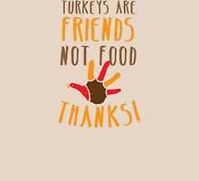 TURKEYs are FRIENDS not FOOD thanks! Thanksgiving deaign Womens Fitted T-Shirt