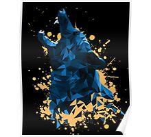 Blue Geometric Barking Shepherd Poster