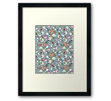 Pattern of funny birds Framed Print