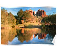 Cathedral Rock and Landscape Reflections Poster