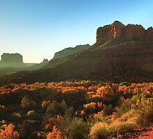 Morning sunlight on Sedona Arizona by Roupen  Baker