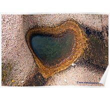 Puddle Heart on Granite Rocks Poster
