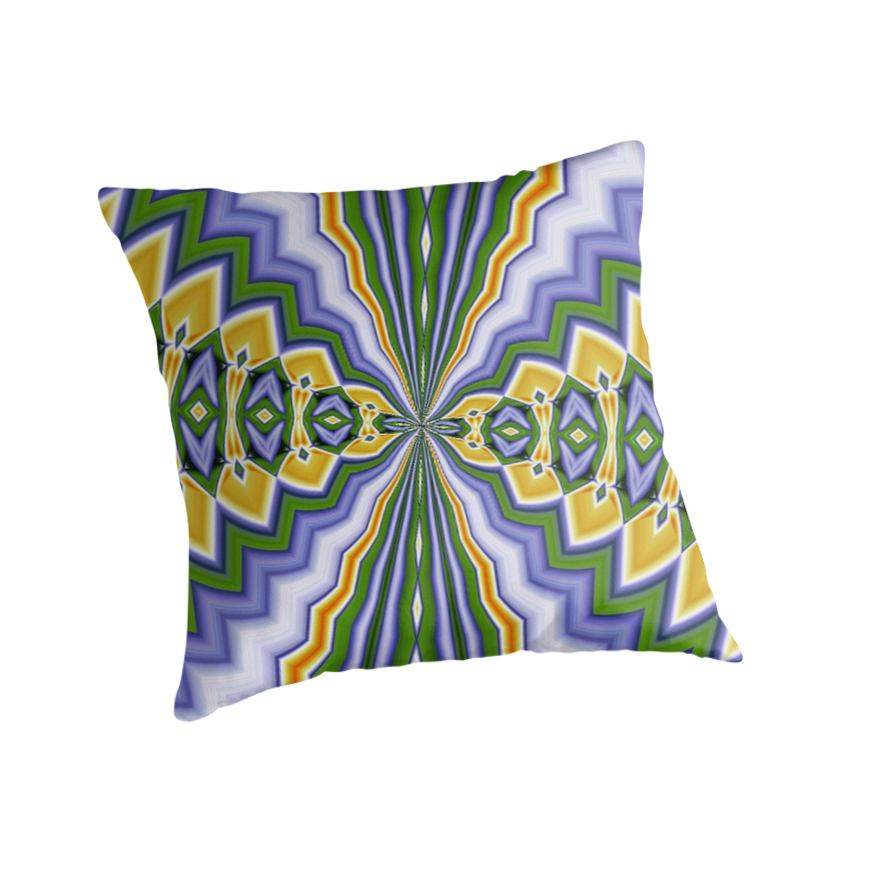 Aftershock Abstract Pattern In Green, Lilac and Orange by taiche