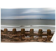 Lossiemouth west beach ghostly waves. Poster