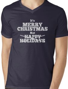 It's Merry Christmas Not Happy Holidays Weathered Mens V-Neck T-Shirt