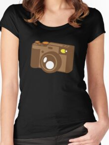 Old school vintage camera with lens Women's Fitted Scoop T-Shirt