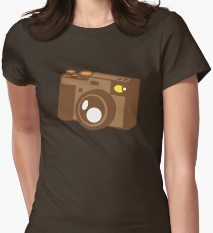 Old school vintage camera with lens Womens Fitted T-Shirt