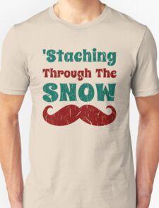Christmas Mustache Staching Through The Snow Unisex T-Shirt