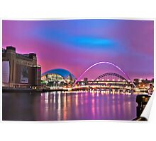 Pink Newcastle upon Tyne Quayside Poster