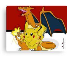 Pokemon (Charzard & Pikachu) Canvas Print