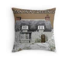 Season's Greetings Christmas Card Throw Pillow