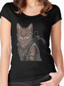 Norman Reedus Cat  Women's Fitted Scoop T-Shirt