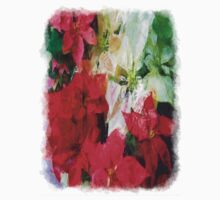 Mixed color Poinsettias 1 Sketchy One Piece - Long Sleeve