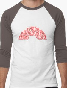 Pokemon Typhography Quotes Men's Baseball ¾ T-Shirt