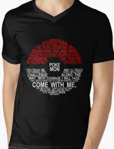 Pokemon Typhography Quotes Mens V-Neck T-Shirt